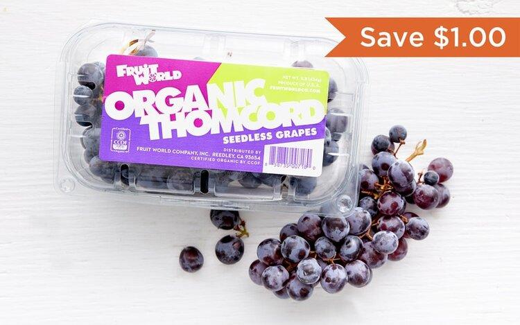 Fruit World Company   Organic Thomcord Grapes   $2.99