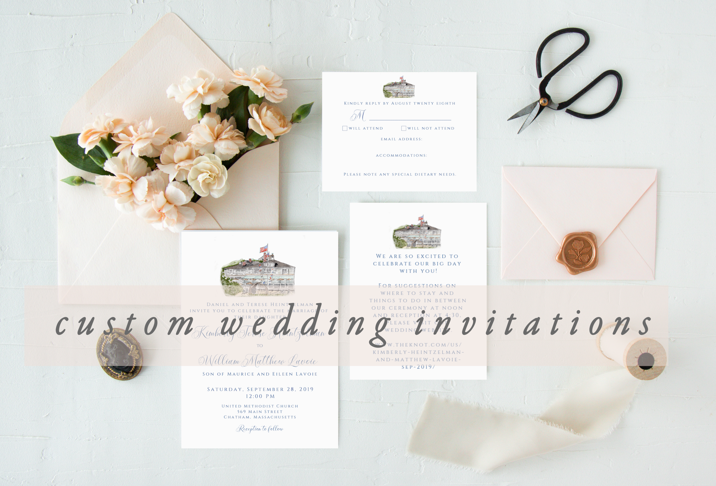 Custom Watercolor Wedding Invitations | Chatham Bars Inn Wedding Invitations | Emily Quigley Ink