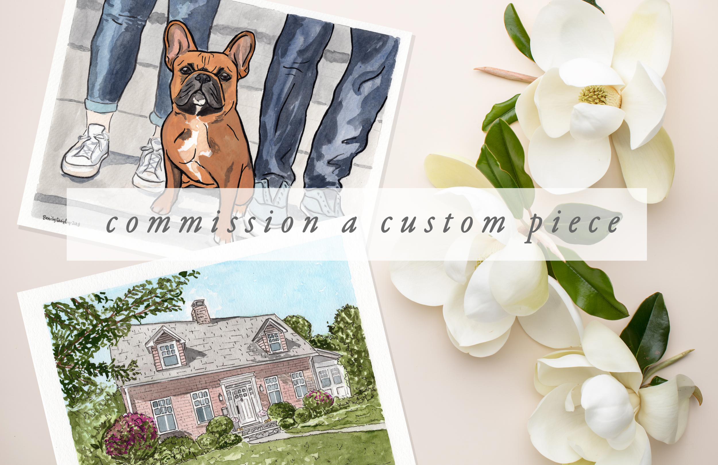 Custom Watercolor Pet Portrait | Custom Watercolor Home Portrait | Emily Quigley Ink