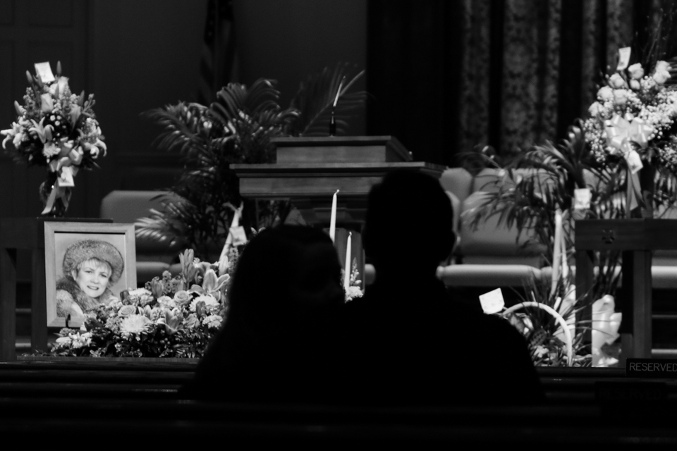 Hannah Hinson and her boyfriend attend Esther Cloud's funeral service at Lithia Springs First Baptist Church in Lithia Springs, Georgia, on January 27, 2018.
