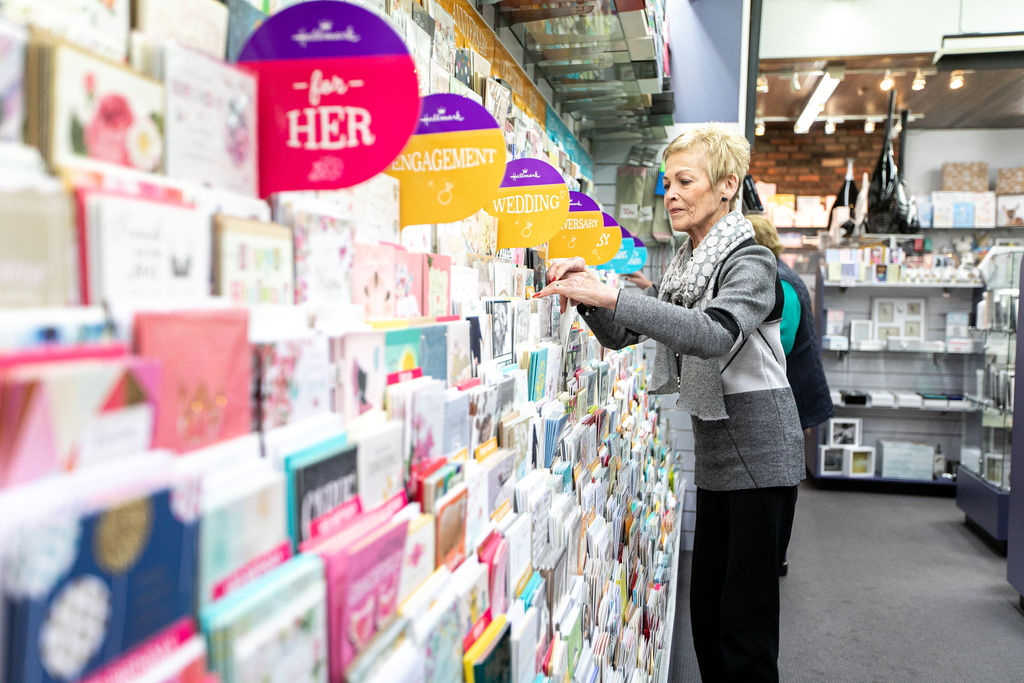 Cheryl Campbell tending to her card emporium, The Card Castle. Image by Melanie de Ruyter 2019.