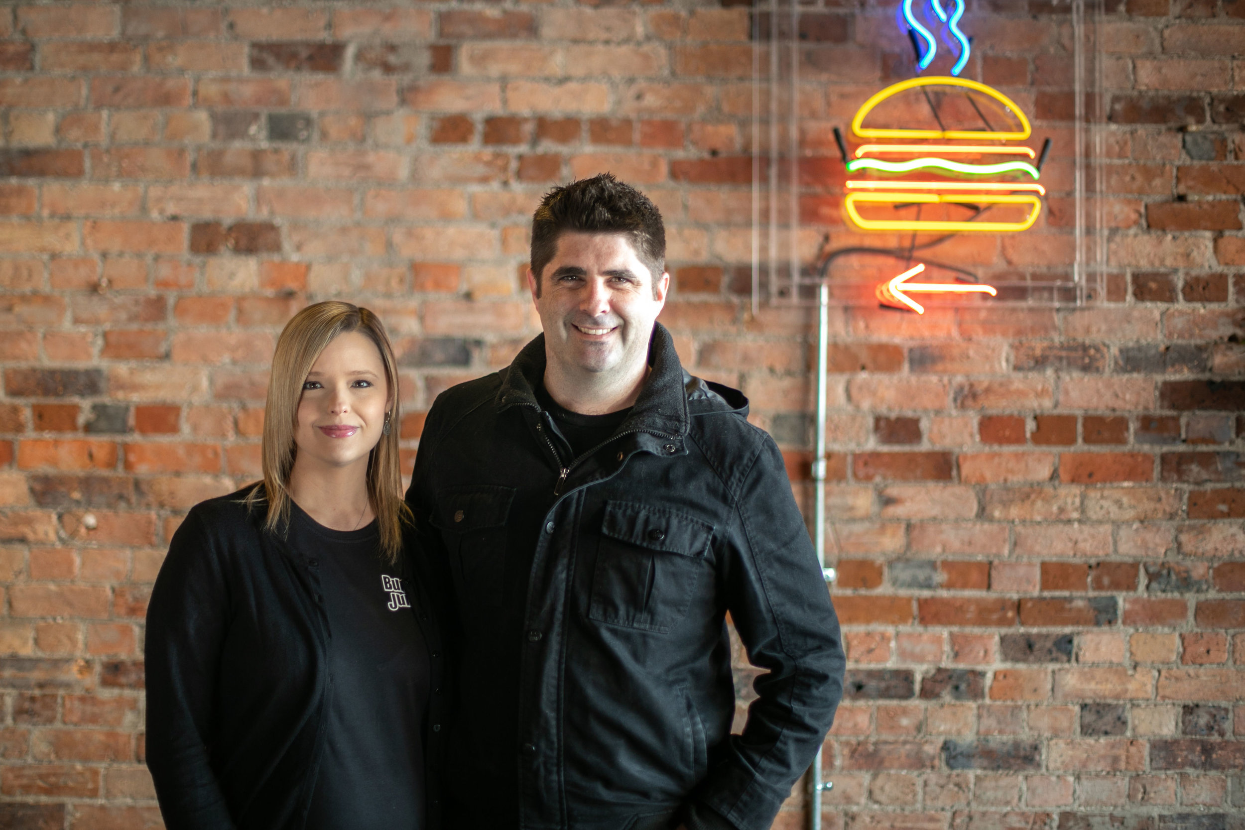 Sharla and Cameron Gallagher, owners of Burger Junkie, serve up north-American style burgers. Image: Melanie de Ruyter for Winterlicous 2019.