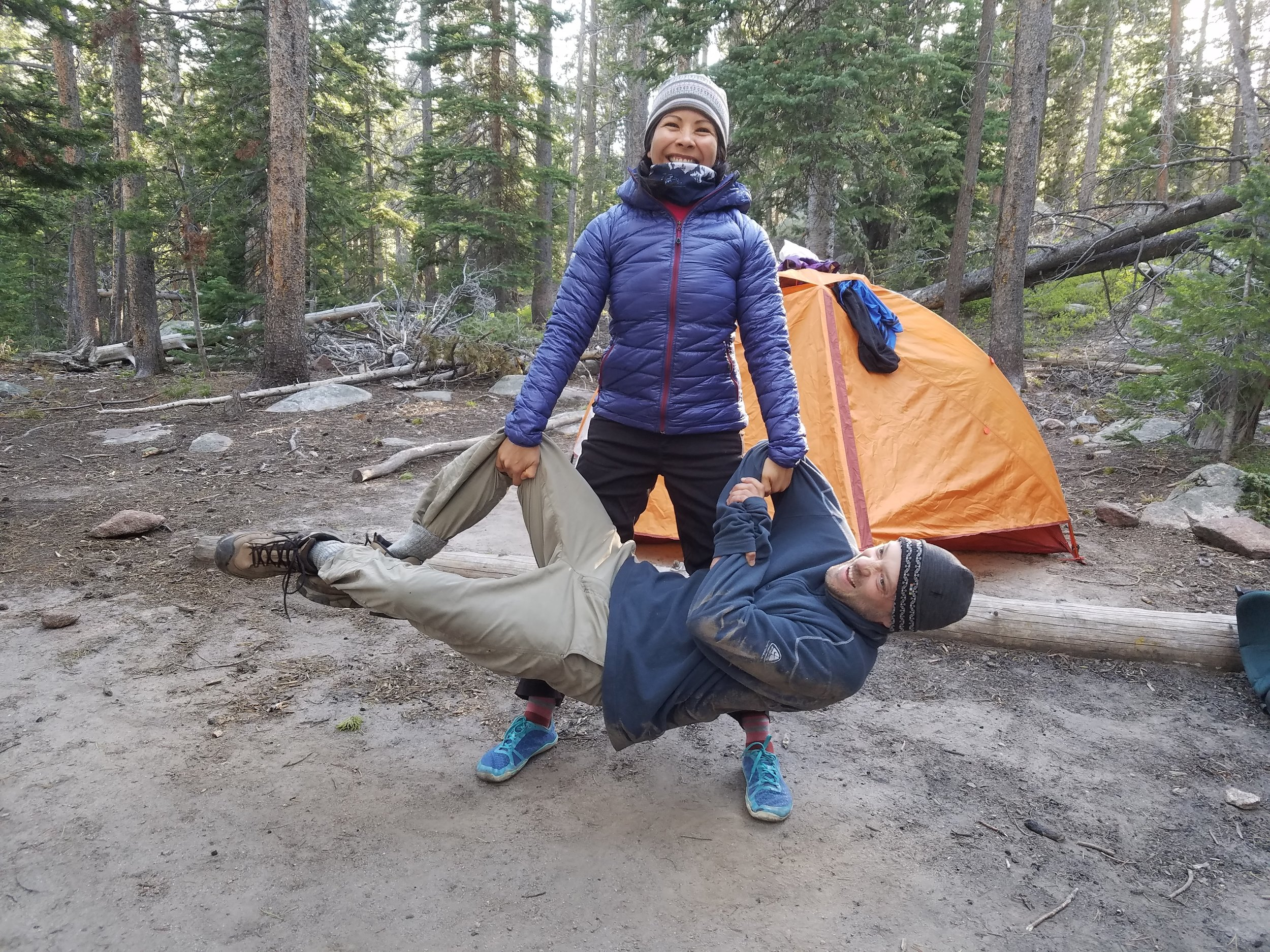 Jackie picks up her friend while on a camping trip