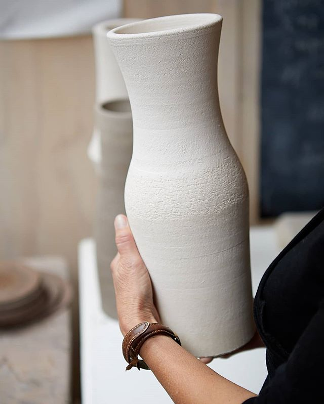 I do it to keep my mind alive, and in the end I'll achieve some measure.  I'll be clear and simple,  tell the truth,  I'll hold it like a pebble in my hand. (From 'Prowlers' by Maurice Gee)  #Nzfiction #claymaker #simple #bold #nzdesign #bisquedvase