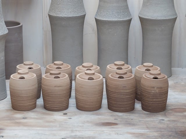 Spring order for @__olmh . Tove vases tower over drying honey pots.  #sustainableliving #honey #organicfarms #claymaker