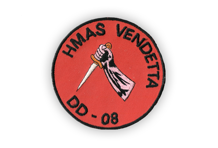 "Image of cloth badge embroidered with the words ""HMAS Vendetta DD - 08"""