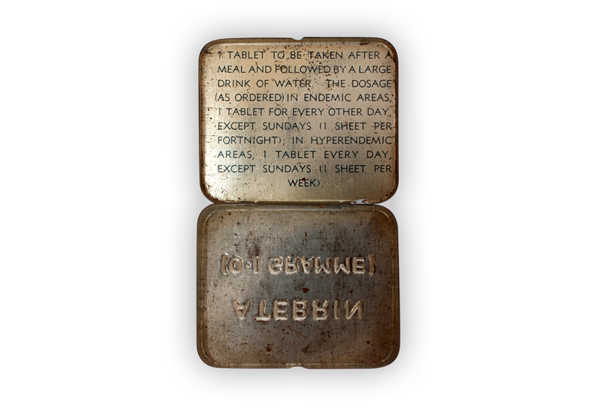 Image of medicine tin fashioned from a cartridge case.