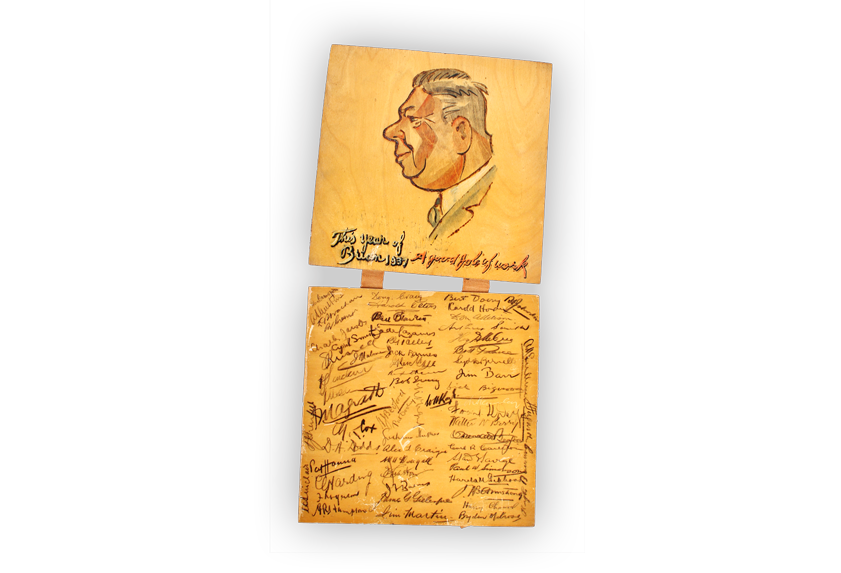 Drawing of Brian Armstrong signed by Legacy members