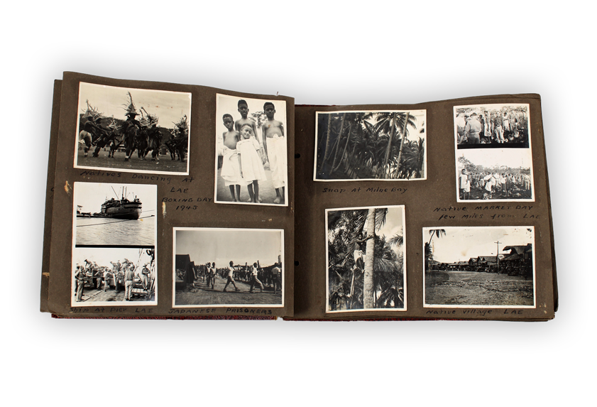 Image of a photo album showing photographs from a soldier's travels during the First World War.