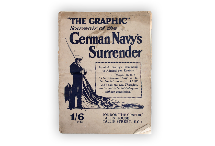 Image of souvenir pamphlet published in acknowledgement of the German Navy's surrender.