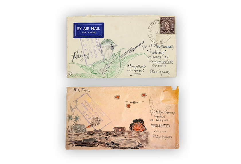Image of letters sent home to Australia by a soldier with drawings of life at the front.