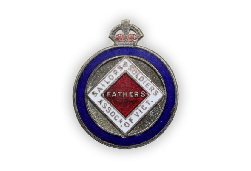Image of Sailors and Soldiers Fathers' Association of Victoria badge.