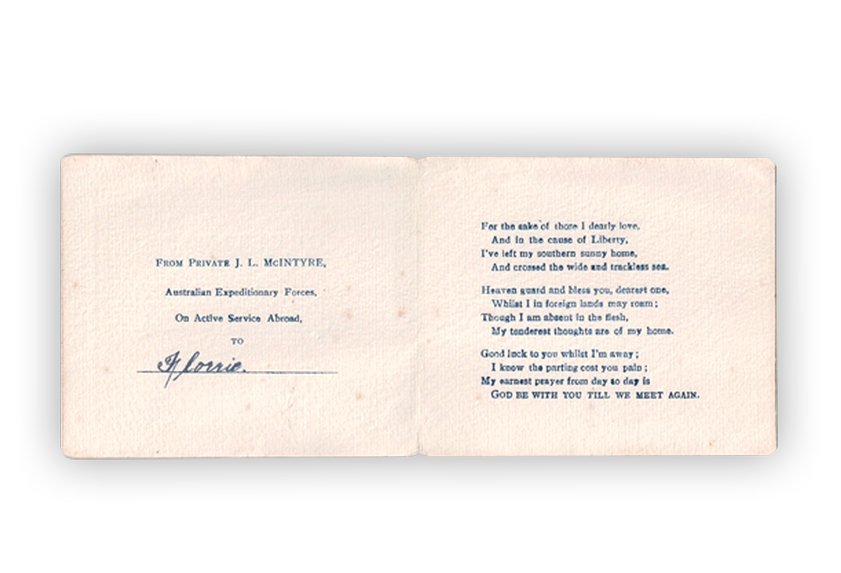 Image of greeting card sent by a soldier to his family during First World War.