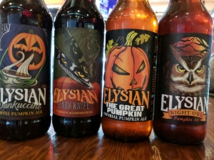 This years Elysian Pumpkin beers in bottles include the classic Night Owl, Great Pumpkin, Punkuccino and Dark Knife Pumpkin Shwarzebier!