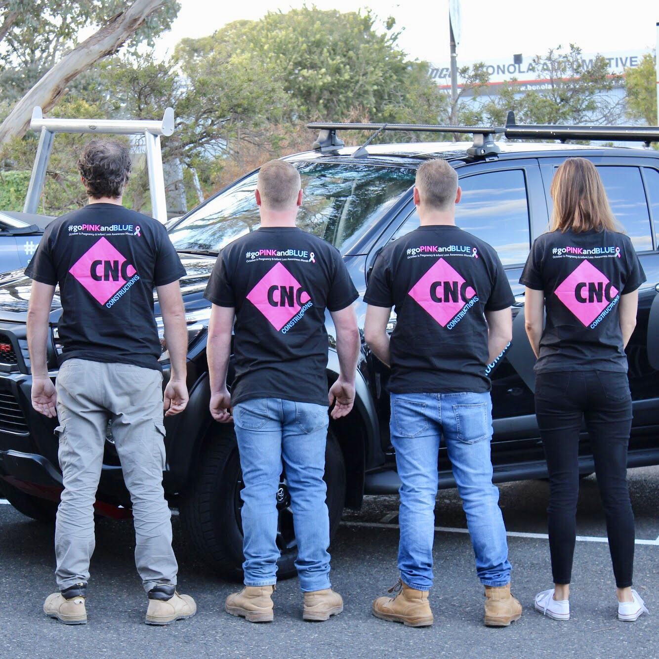 A few members of our team in the PINK & BLUE workwear