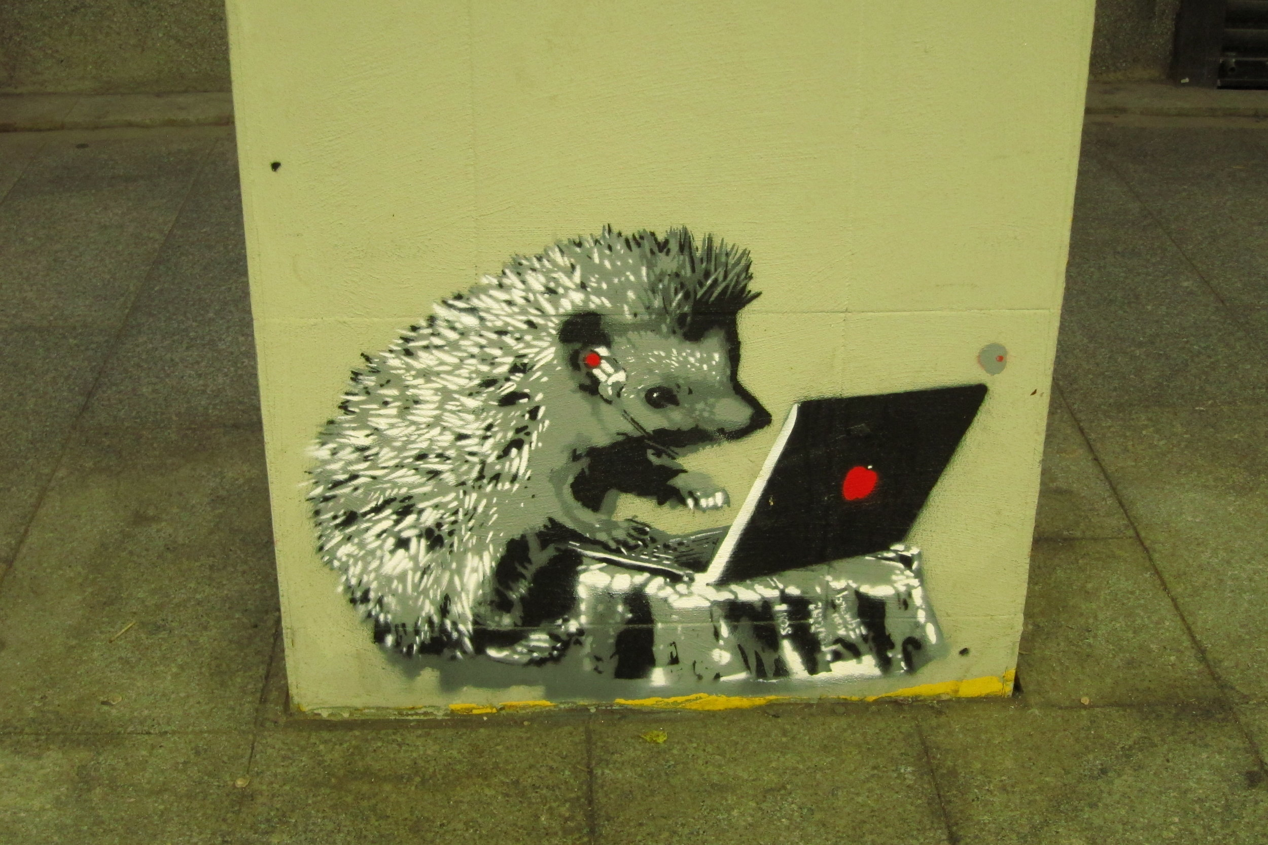 Hedgehog at work, Riga, Latvia, 5/29/2019