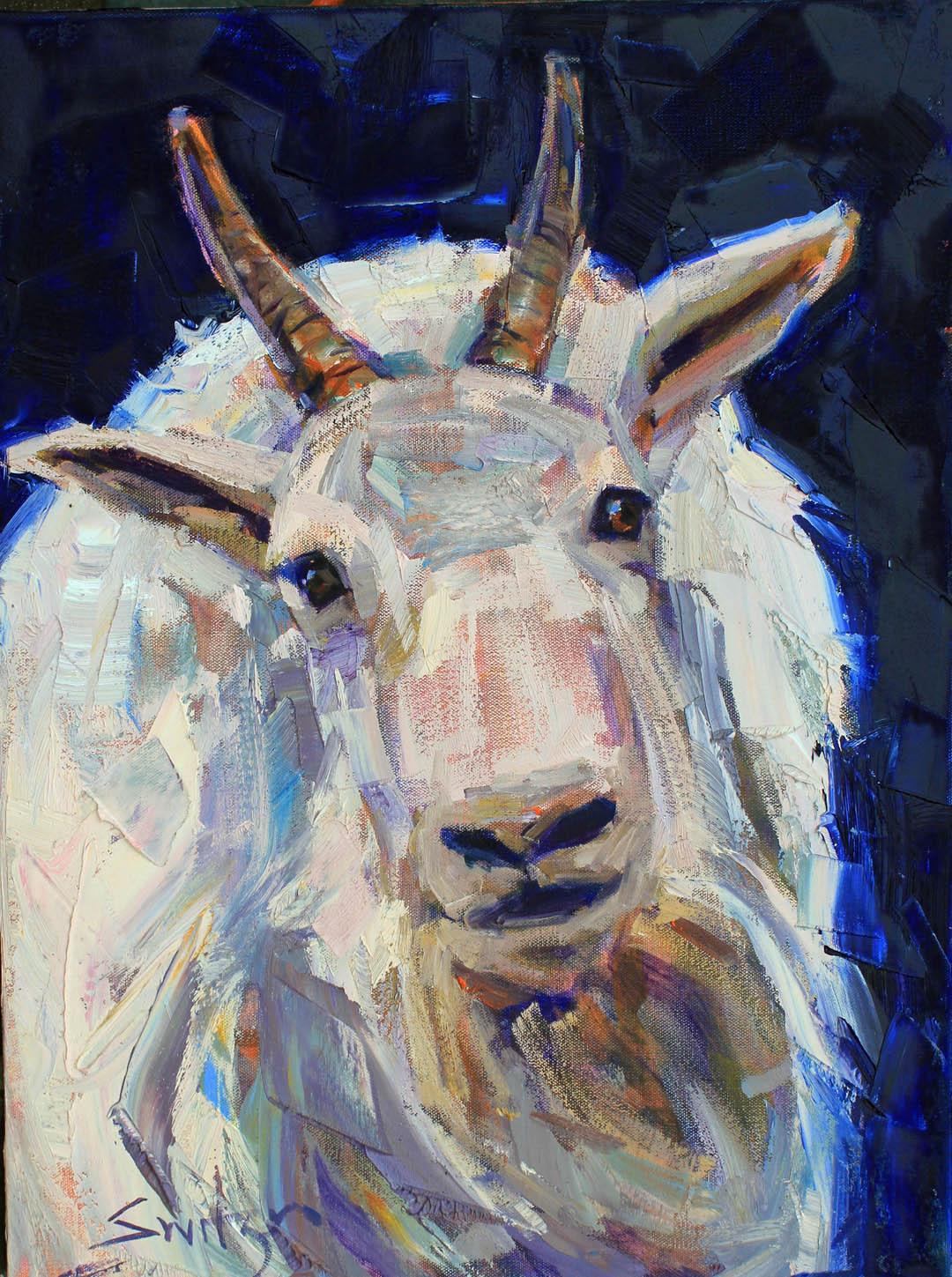 """Goat"", 24x18 inches, oil on canvas, SOLD"