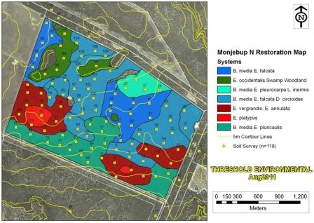 Figure 2:The broad ecosystem types as they could have occurred at Monjebup North prior to the clearing of 400 ha for agriculture. This map builds on soil sampling data and vegetation survey data.
