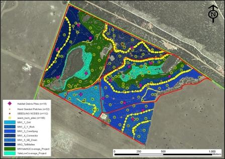 Figure 4: (click image to enlarge) The 2012 post-restoration operational map showing the 7 meter tractor passes direct-seeding 8 different seed mixes across the entire 100 ha area, and the additional detailed, location-specific restoration treatments.