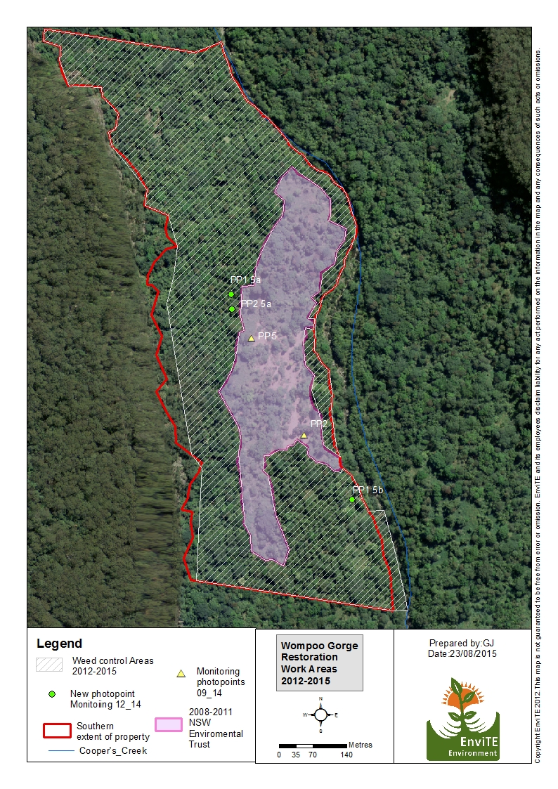 Caption to following photo:  2008-2015 Wompoo Gorge (south) restoration work areas and monitoring points (40ha)