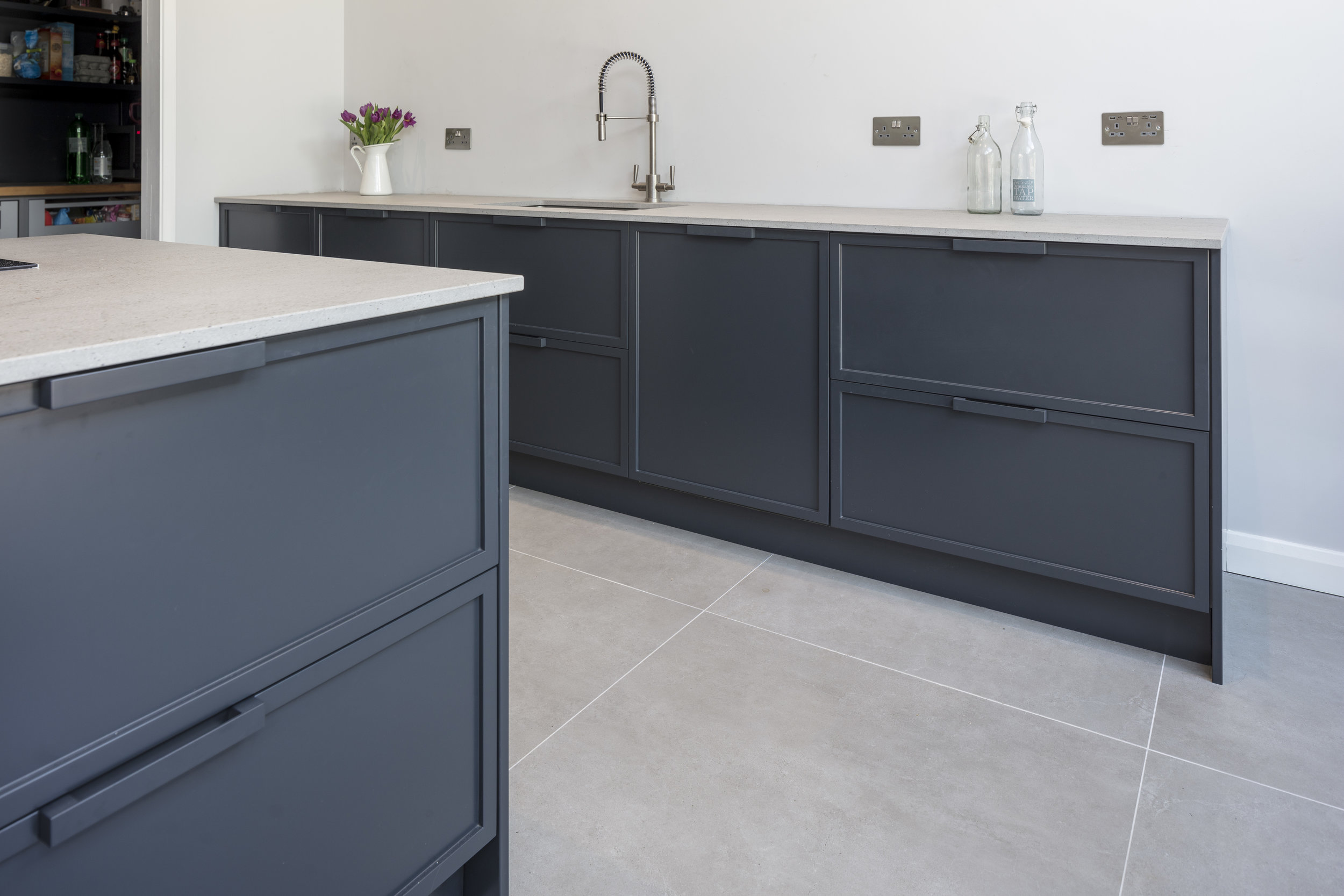 How brave will you be? - All of our kitchens can be finished in any colour you choose. We can match to a Farrow & Ball colour or why not find something completely off the wall! A beautiful dark blue, a gorgeous light grey or maybe a mix of the two? With matt and gloss options available in either a super durable spray finish, or a gorgeous hand painted finish, you really can have exactly what you want!