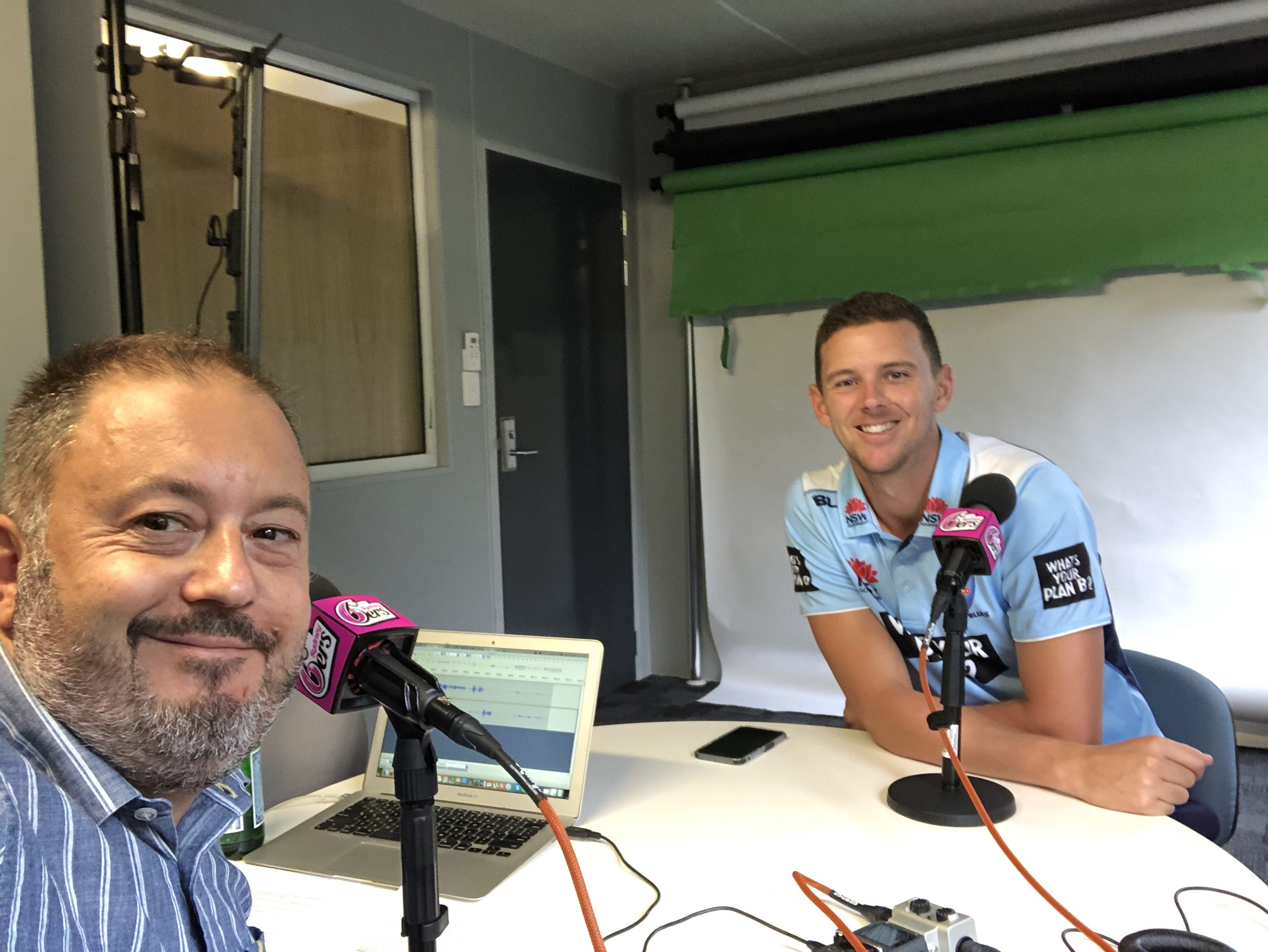 Andrew interviewing Australian fast bowler Josh Hazlewood