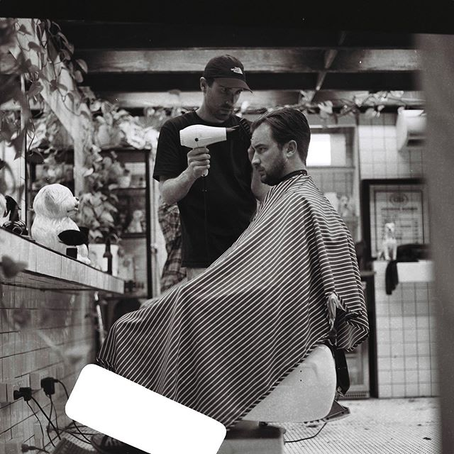 Our Marc and the gang on the tools from 9am-5pm this Saturday. #drunkenbarber #barbershop #barbershopconnect #haveanicelife #fitzroy #melbourne #mediumformat #rolleiflex