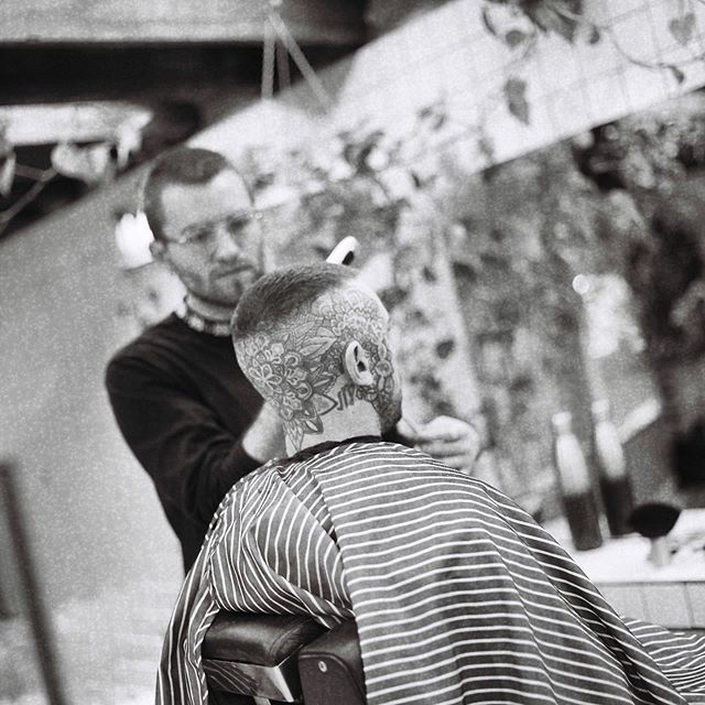 Nic in action. We're open 10am-9pm every Wednesday and Thursday! #drunkenbarber #barbershop #barbershopconnect #melbourne #fitzroy #haveanicelife #frenchcrop #rolleiflex #blackandwhite