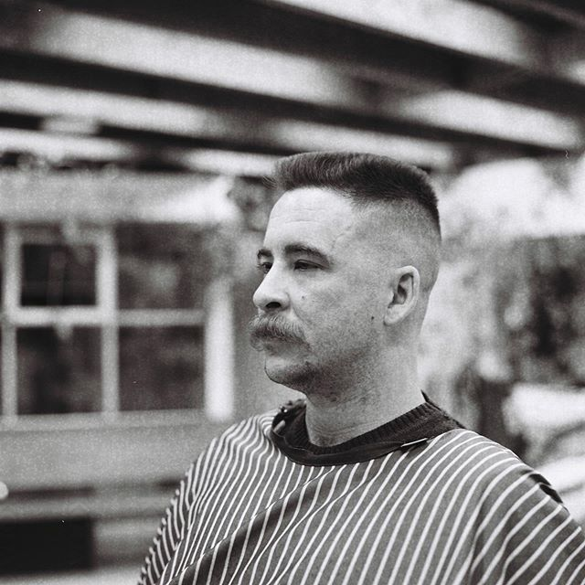 Flat toppin' 🔪 We're open 10am-9pm every Wednesday and Thursday! #drunkenbarber #barbershop #barbershopconnect #melbourne #fitzroy #haveanicelife #flattop #rolleiflex #blackandwhite