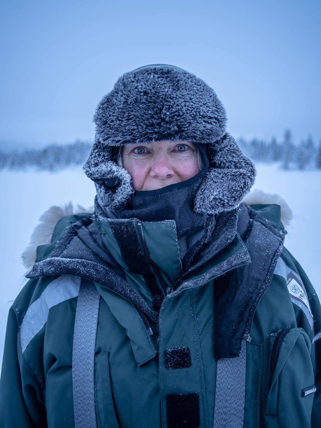 Our Senior Project Manager, Rhonda, learns how to dress for Lapland.