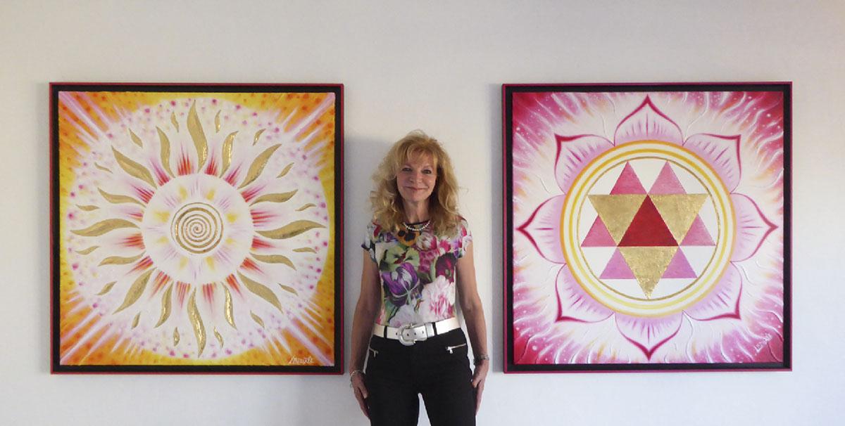 Marlis Ladurée and her mandala with sacred symbols