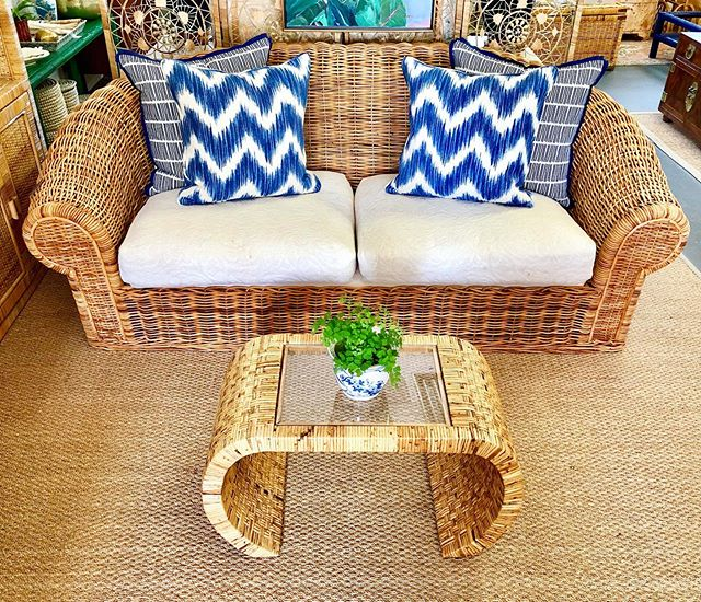 """Wild about some wicker and this sofa is no exception! Love the natural wicker and would be great for a sunroom or covered porch. • Wicker Sofa - $395 (88"""" W x 44"""" D x 34"""" H) • Rattan Waterfall Coffee Table - $225 (30"""" W x 15"""" D x 17.5"""" H) • Pillows $95-$145 each"""