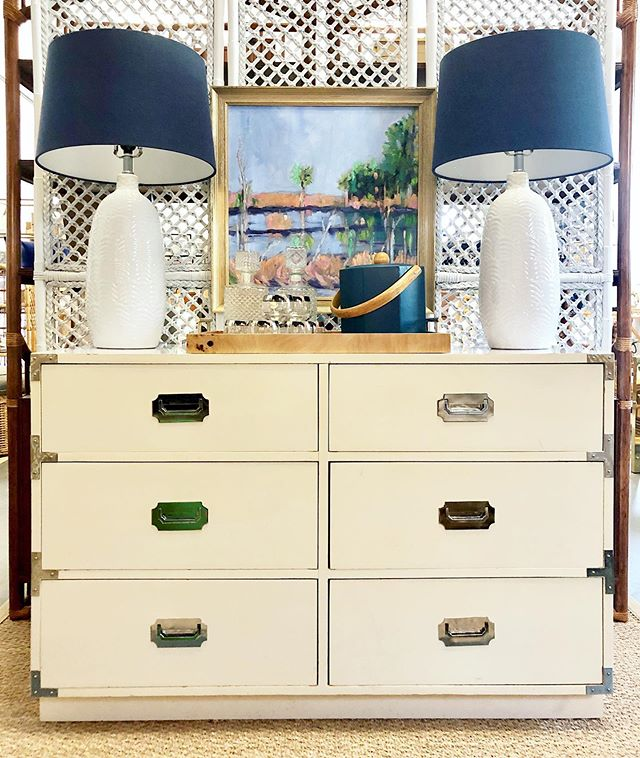 """Cool chrome campaign piece just in! Check out our story to see other new arrivals. • Campaign Dresser by Dixie - $395 (46"""" x 18.5"""" D x 30"""" H) • Lamps - $250 pair • """"Lowcountry Marsh"""" oil on canvas by Cathy Lumpkin - $475 . . . #campaign #campaigndresser #vintagefurniture #homedecor #vintagehome #charlestonshopping #charleston #campaignfurniture #homestyle"""