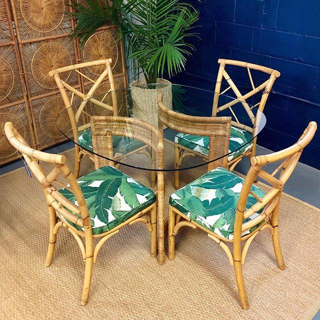"Frond-tastic! 🌿 Rattan Chairs (new upholstery) - $375 set of 4 • Wicker & Glass Table - $225 (42"" x 29.5"" H) . . . #palm #palmleaf #fronds #islandstyle #coastalstyle #rattan #wicker #dining #diningset #coastalhome #beachhouse #beachhousedecor #charleston #charlestonshopping"