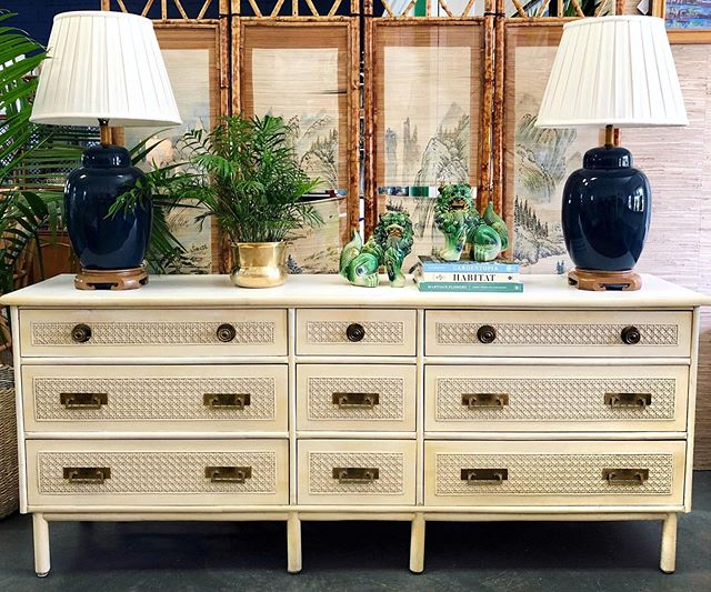 """Can(e) it get any better than this gorgeous Cane Dresser?! We think not😉 • Nine Drawer Cane Dresser - $525 (74.5"""" W x 17.5"""" D x 32"""" H) • Vintage Blue Lamps - $150/ pair • Porcelain Foo Dogs - $98/pair . . . #canefurniture #vintagefurniture #brasshardware #foodogs #homeinspo #homestyle #charleston #shopindigomarket"""