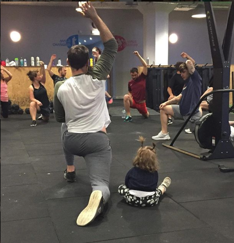 The Coach (and mini-coach!) at our Partner Gym EveryDay Athlete leads a structured warm up appropriate to the programmed HIIT workout