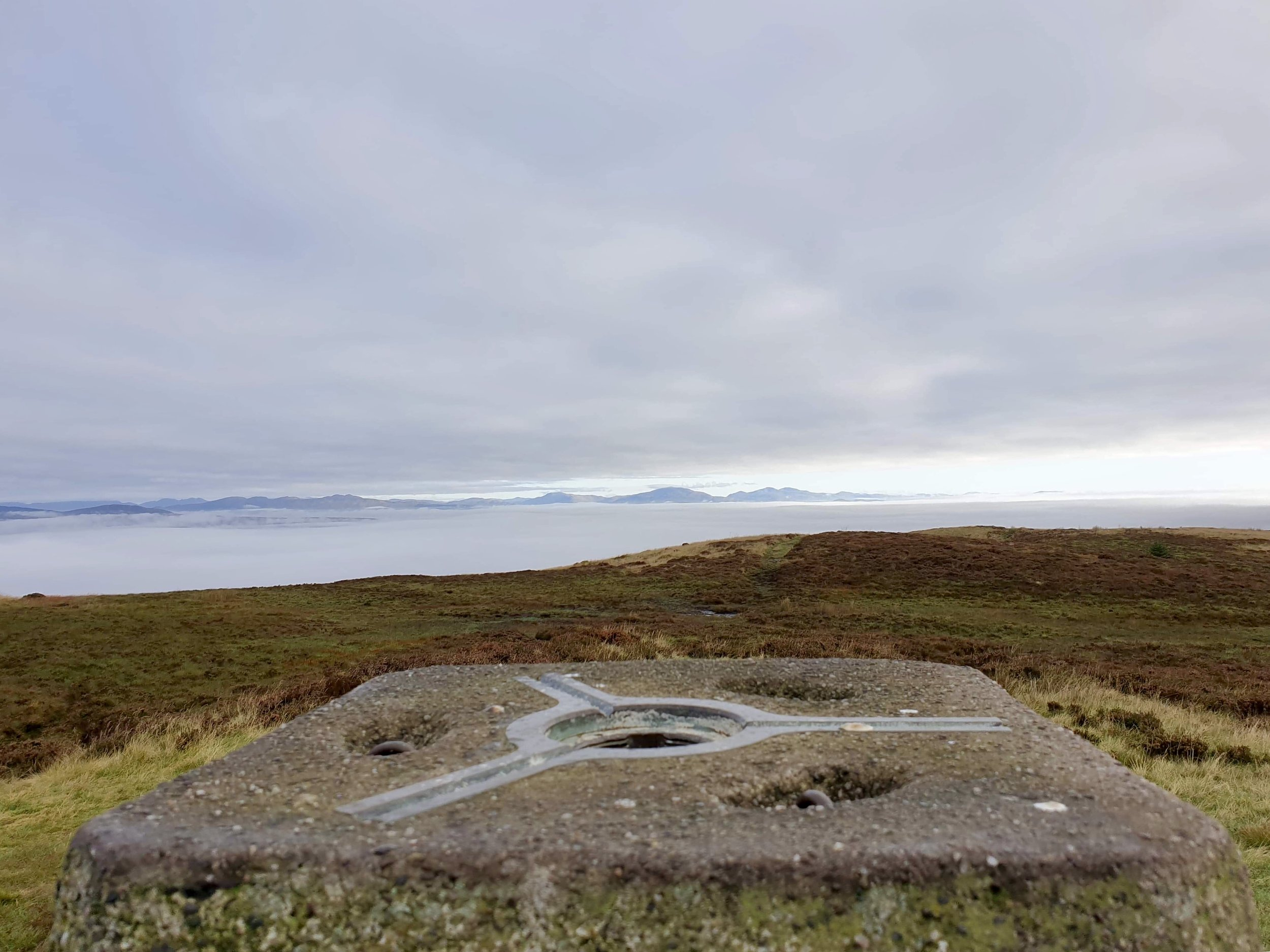 Trig Point looking North with Cloud Inversion