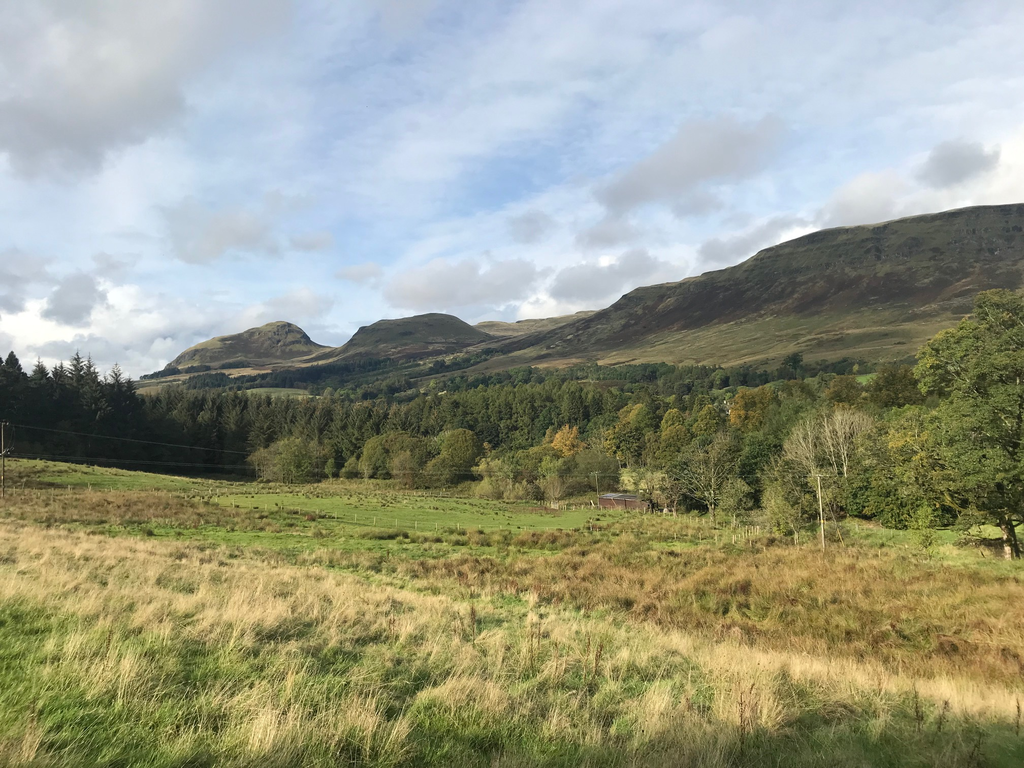 View from the West Highland Way across the valley to Dumgoyne and Earls Seat behind it