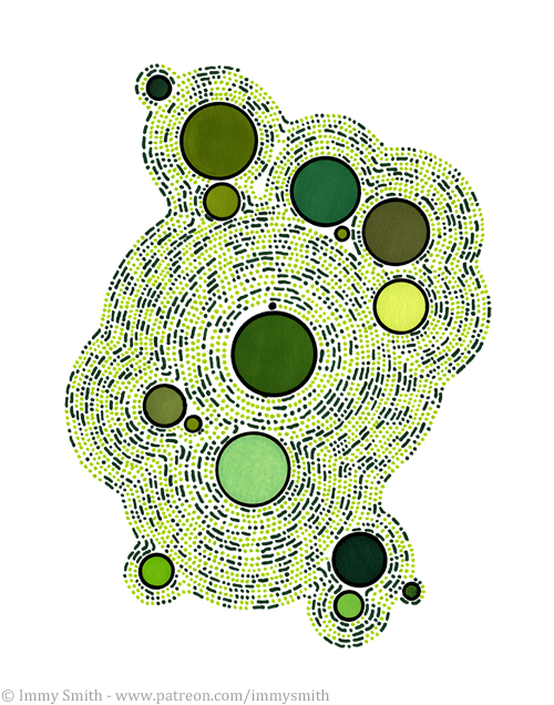 [Image description; an irregular shaped pattern on a white background, made of dots and dashes in shades of light and dark green, spiralling clockwise outwards from and around green circles. It encodes words about forests.]