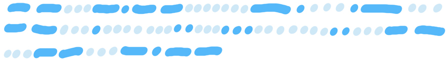 3 lines of mid blue dots and dashes interspersed with light blue dots, representing Morse code.
