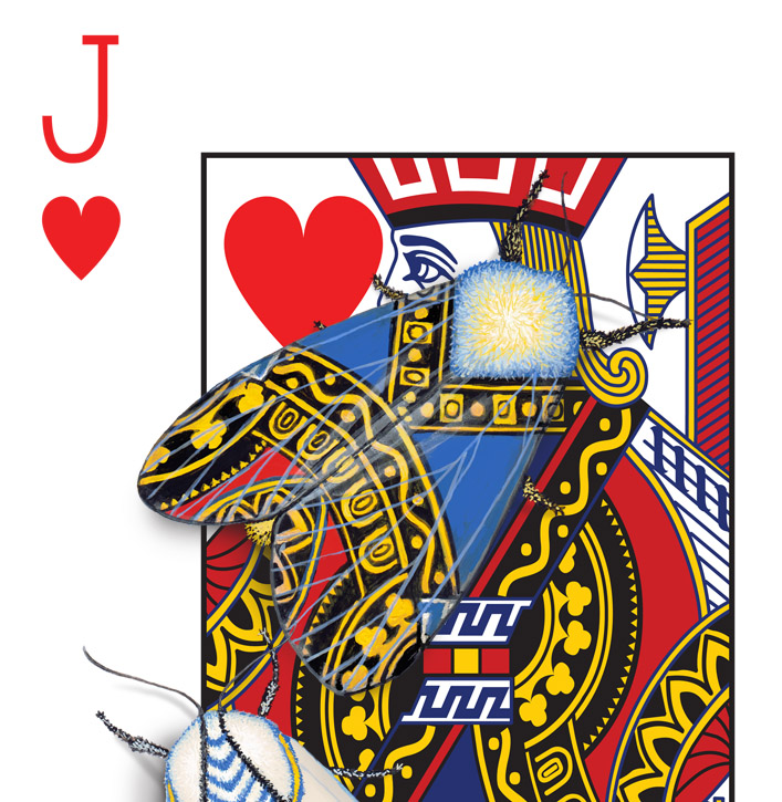 The corner of a Jack of Hearts playing card design. The design has been hand-painted with moths that look like they have evolved a wing pattern that camouflages them on the card.