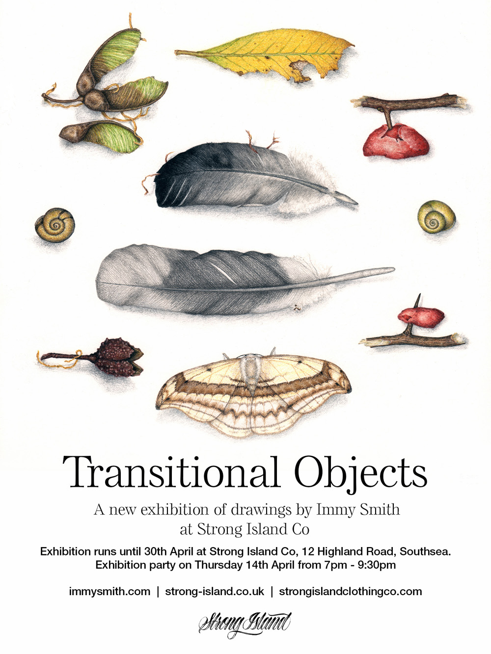 Exhibition flyer for the Transitional objects exhibition