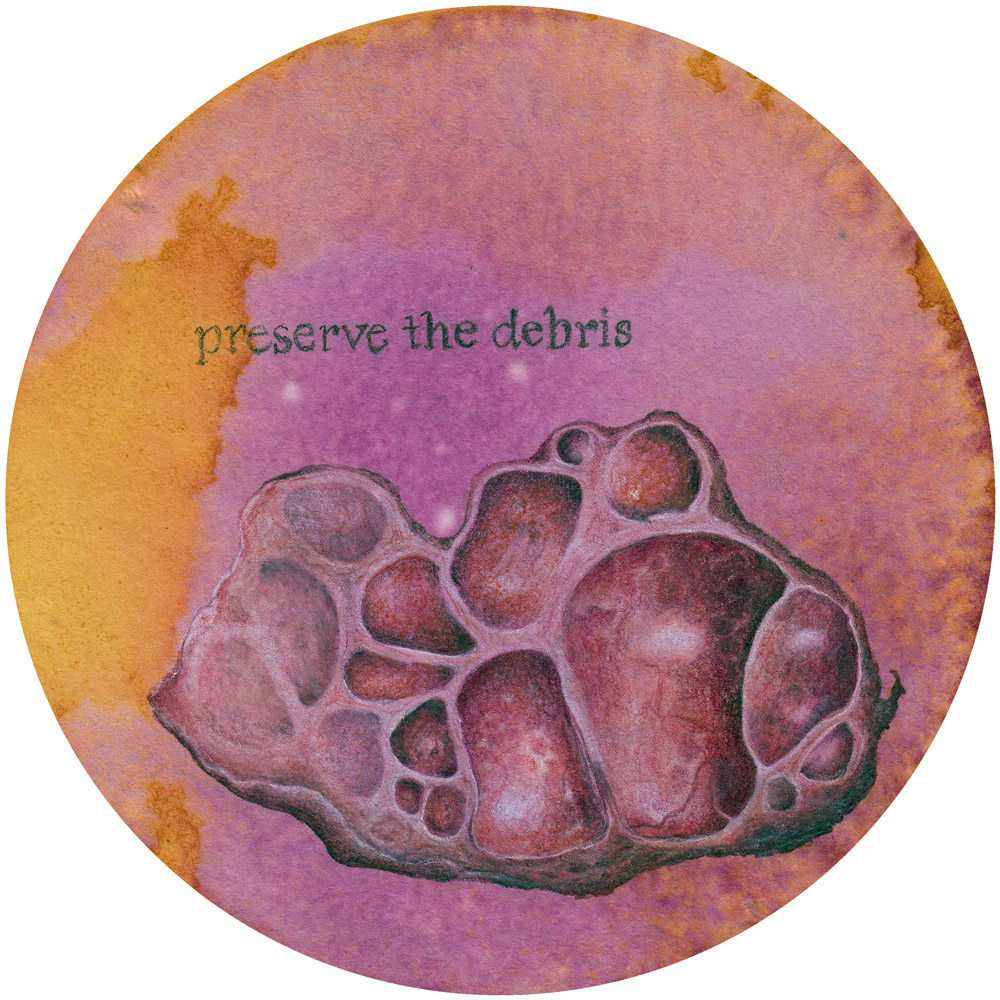 A drawing of an excised cyst, on a pink and orange dyed filter paper, with the words 'preserve the debris' written above it.