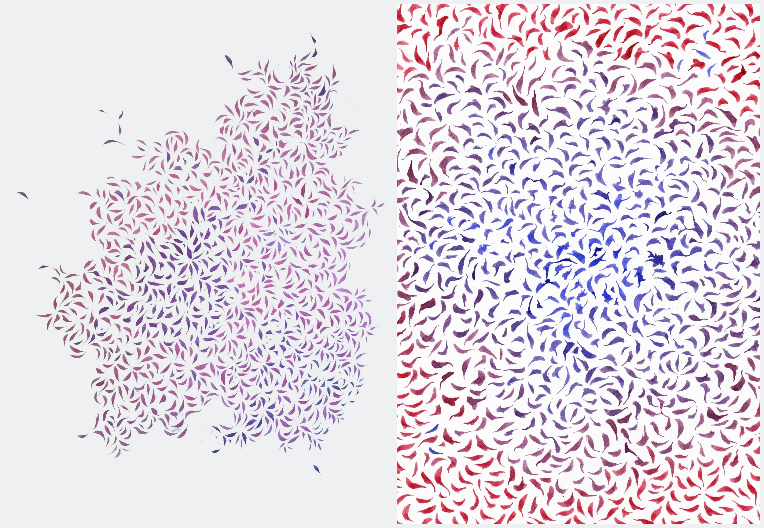 Image description; two ink patterns made from cellular ink shapes in mixtures of blue and pink ink