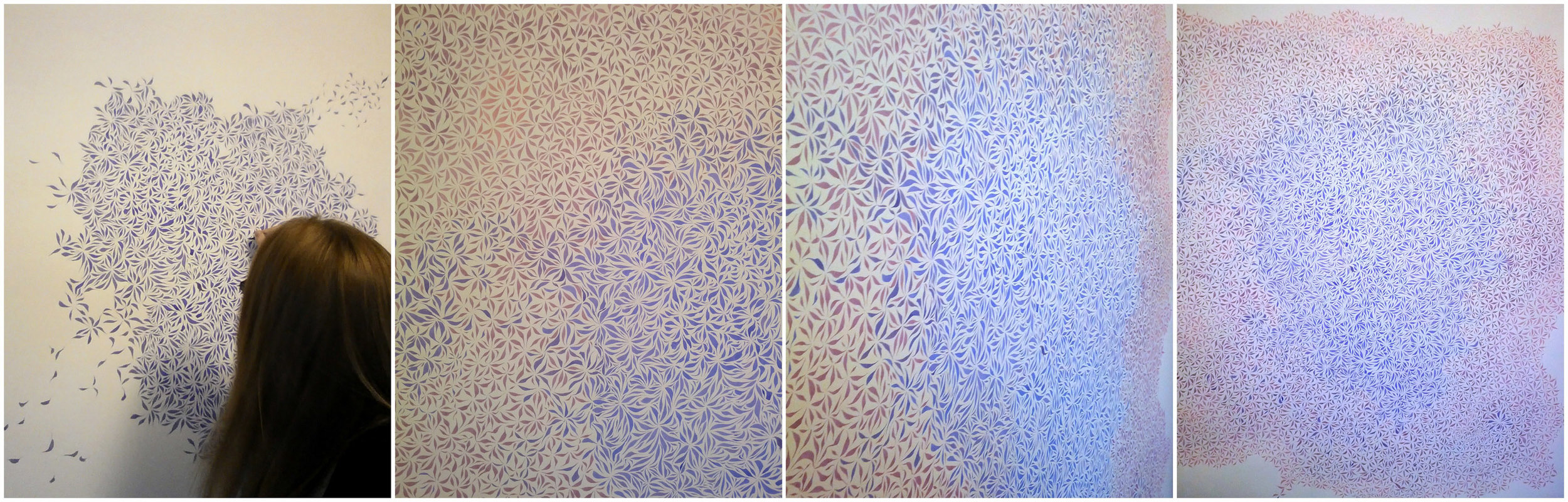 Image description; a four panel image showing me drawing a giant ink pattern made out cell-like brush marks in mixtures of blue and pink ink