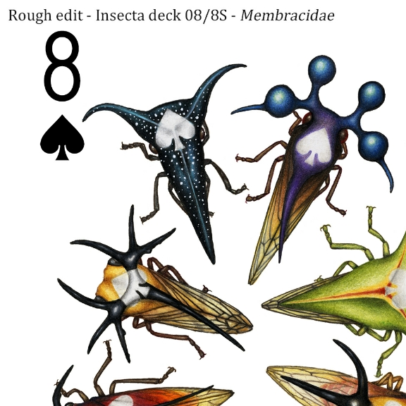 Image description; the corner of an 8 of spades playing card design made in colour pencil. It features 8 colourful membracid leafhoppers, each with a white spade symbol on it's back.