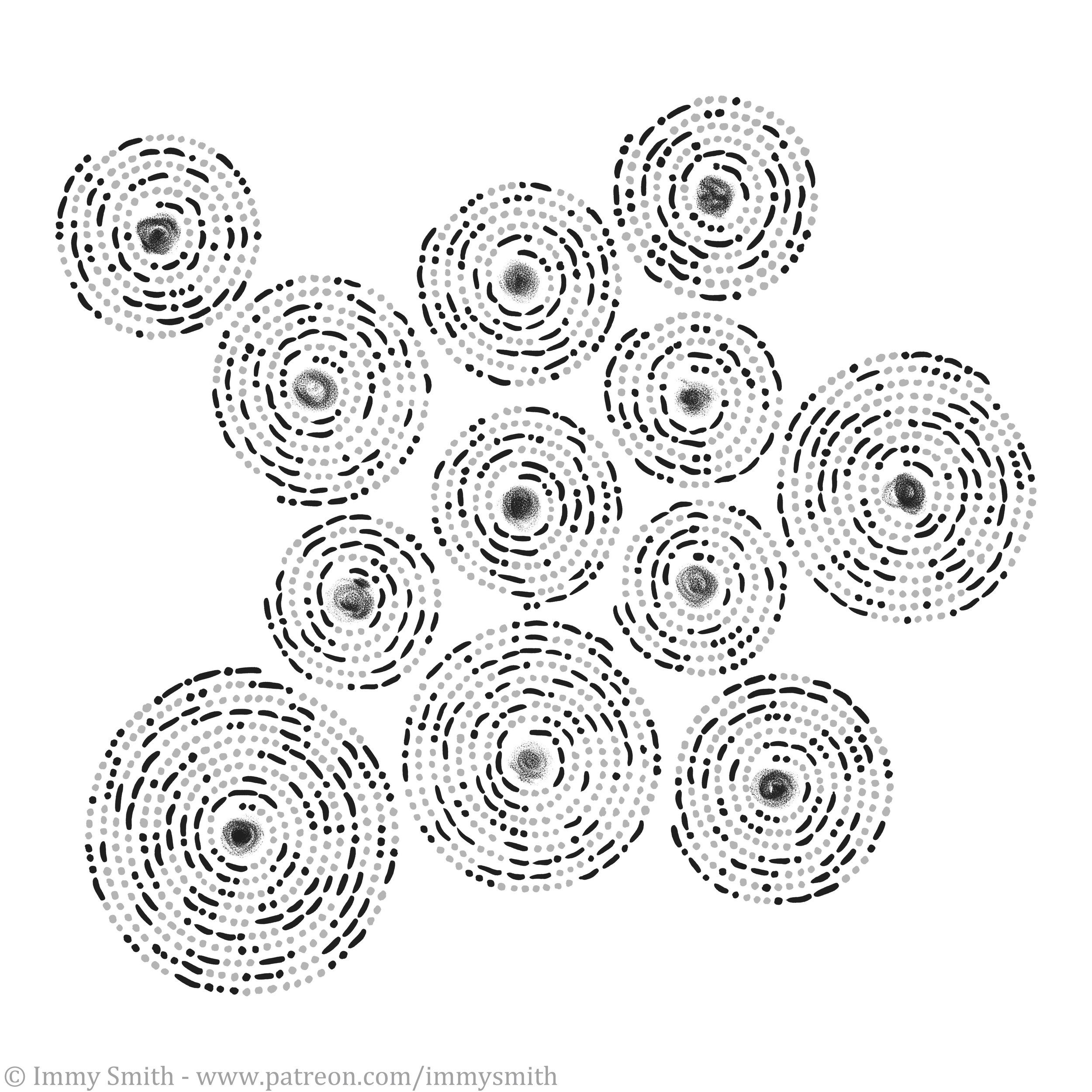 Image description; a pattern of 12 spirals made of black & grey dots and dashes (representing morse code) around black charcoal-like smudges.