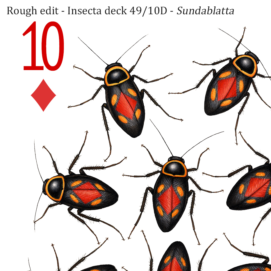 A 10 of diamonds playing card design, featuring 10 spotted forest cockroaches, each with a red diamond symbol on its back.