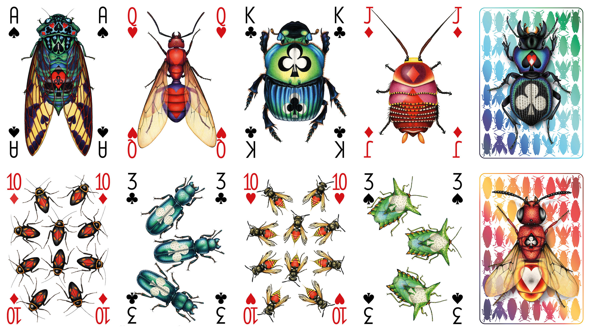 Image description; playing card art from an insect themed deck, in which the suit symbols are carried on the back of colourful insects.