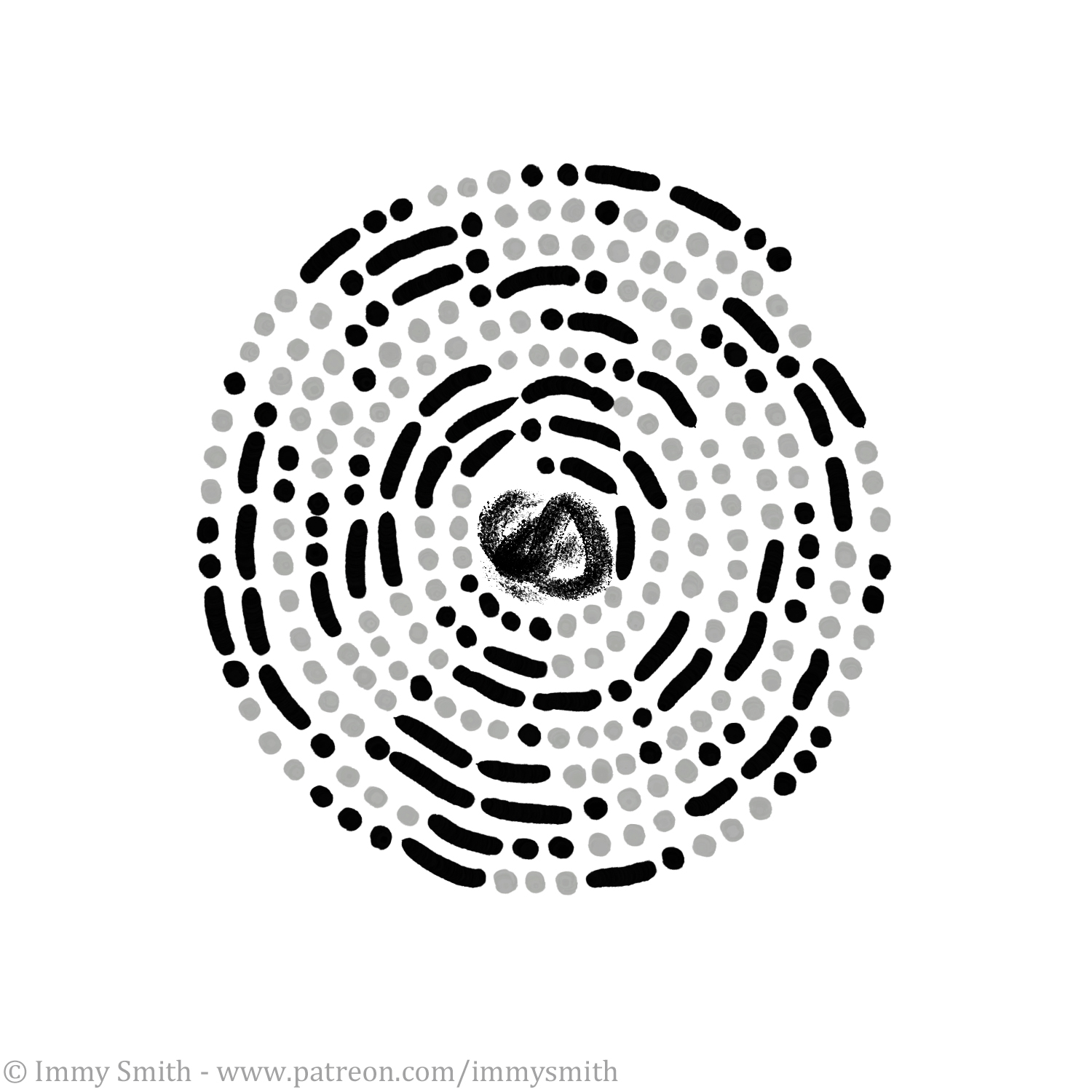 a pattern made of black & grey dots and dashes (representing morse code) around a black charcoal-like smudge.